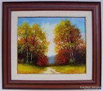 Októberi fák KERETEZETT Obermayer festmény