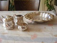Antik vastagon ezüstözött szervírozó készlet tezáshoz