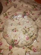 Üveg rózsás süteményes tányér 4 db