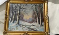 Neogrády jelzés,(+AJÁNDÉK)téli táj,olaj festmény,blondel ker
