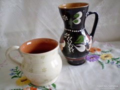 Sárospataki kerámia bokály / korsó 15 cm + kerámia bögre