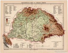 Magyarország hegy- és vízrajzi térkép 1897 I., eredeti