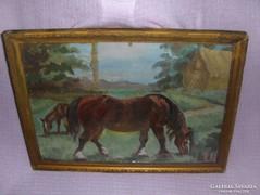 Régi festmény ló lovak üvegezett keretben (g)