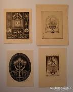 Ex libris - Judaika, 4db