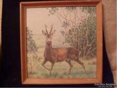 Hantos 1971 színes tus ceruza rajz kartonra 32x32 cm
