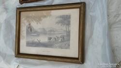 Ceruza rajz Pest látképe szép régikeretben