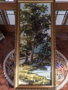 Régi keresztszemes tájkép fa keretben