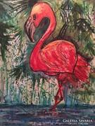 Flamingó modern nagy méretű festmény
