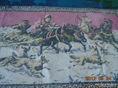 """Antik-Festett falvédő-""""Farkaskaland""""-116 x 53 cm"""