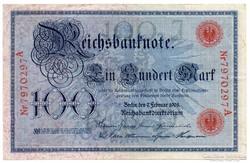 Németország 100 német birodalmi Márka, 1908