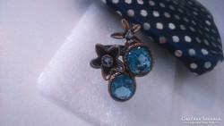 Természetes Topáz Ötvös 925 Ezüst Gyűrű 2 tónusú