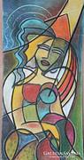 Vibók: Kettesben 43x70 cm pasztell kép