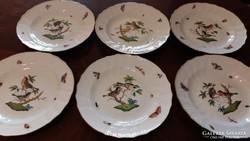 Herendi antik Rothschild mintás lapos tányér 6 db