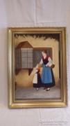 Jelzett életkép festmény asszony gyermekkel