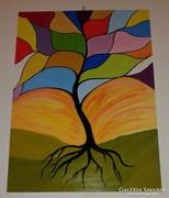 Absztrakt fa, akrillal festett, modern kép