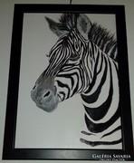 Zebra, akrillal festett kép keretben
