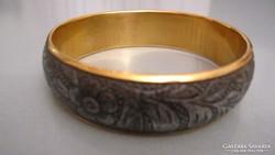 Régi réz karkötő, karperec, antracit-szürke külső gyűrűvel
