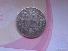 1871 Olasz ezüst 5 líra 25 gramm 0,900,szép keresett érme