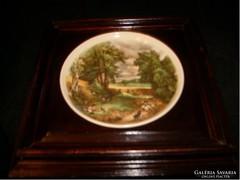 Antik fajansz tányér keretében híres festők képével