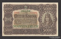 5000 korona 1923. 40 fillér fb.I!!. aUNC!!! EXTRA SZÉP!!