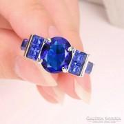 7-es méretű, Blue-Topaz-10K-ezüstözött-Filled-gyűrű.