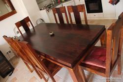 6 személyes étkezőasztal székekkel és tükör