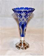 Antik ezüst talpú csiszolt kristály váza