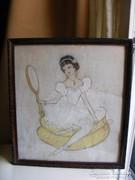 Régi Balerina pasztell kép és régi képkeret