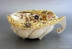 Antik Zsolnay asztalközép virágdíszítéssel