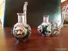 Tibeti ezüstveretes antik ópium pipa jade golyóval