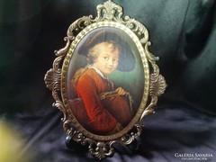 Régi olasz selyemkép  24x18,5 cm