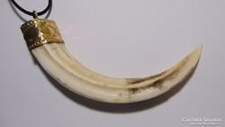 Vadkan vaddisznó agyar réz foglalatban amulettnek, kulcstart