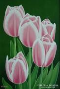 IRMA ENDREY: Pink tulips;   ENDREY IRMA: Virág festmény