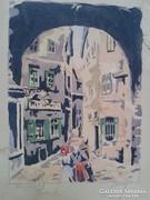 Szalay festmény akvarell 1930-as évek