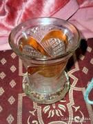 Biedermeier 120 éves vastag üveg váza  eredeti régi 