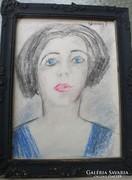 Vaszary János vázlat: Kékruhás nő