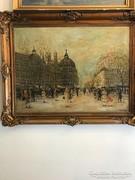 Berkes Antal eredeti festménye Párizsi utca