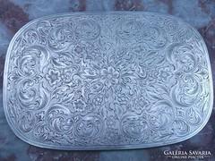 Ezüstözött vésett tálca,kínáló gyönyörű ötvösmunka antik