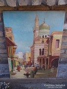 P.Becker: városi utcakép olaj-vászon 80*60 cm