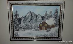 Tél a hegyekben olajfestmény, farost - vászonra festett,kere