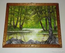 Erdő mélyén, olajfestmény, keretben