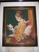 Olvasó nő gobelin kép