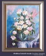 Fehérlő rózsák -impresszió-kortárs igényes festmény...