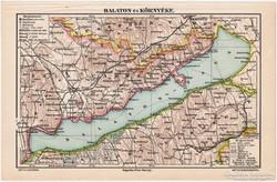 Balaton és környéke térkép, Révai nyomat 1911, eredeti