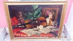 Szignált, Csendélet hegedűvel,EREDETI ,58x78 -s olajvászon