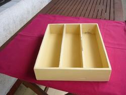 Retro, fából készült evőeszköz tartó, fiókrendező