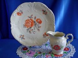 Antik Bavaria porcelán süteményes kínáló tál tejkiöntővel