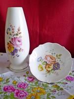 Aquincumi virág csokros porcelán váza 16 cm és tálka