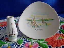 Aquincumi porcelán tálka és Hollóházi váza Balatoni