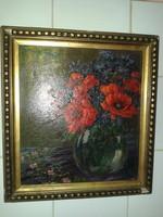 Frank Frigyes Margaréták vázában olajfestmény